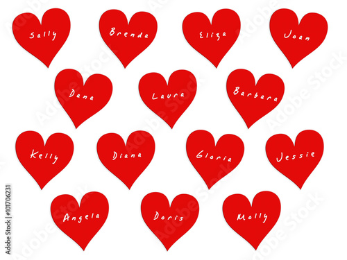 14 hearts with names of women on Valentine's Day Poster