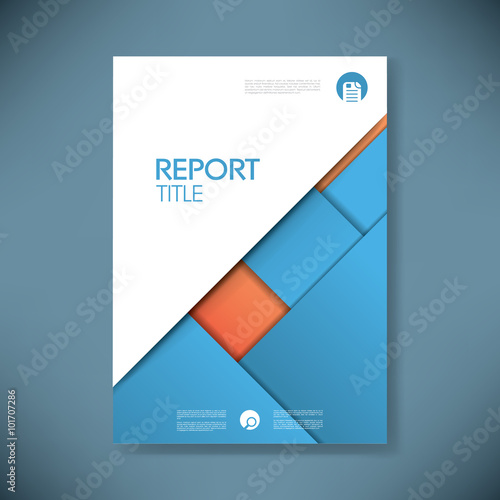 Business Report Cover Template On Blue Material Design Background - Presentation cover page template