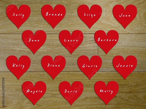 14 hearts with names of women on Valentine's Day Canvas Print