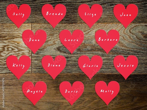Photo  14 hearts with names of women on Valentine's Day