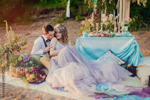 Boho chic couple in love the bride and groom. Wedding inspiratio Poster