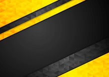 Contrast Orange Black Corporate Polygonal Background