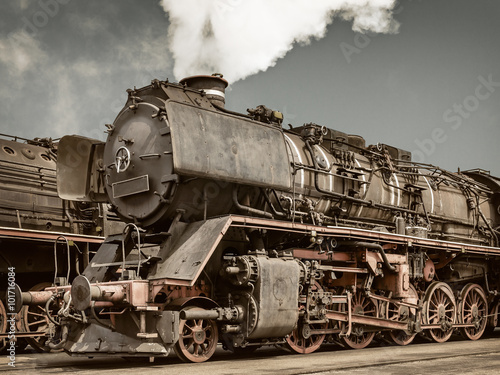 plakat Retro styled image of an old steam locomotive