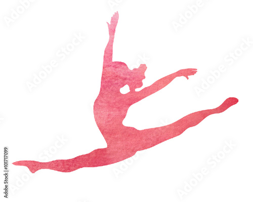 Deurstickers Gymnastiek Pink Watercolor Dancer or Gymnast Dance Gymnastics Split Leap Illustration