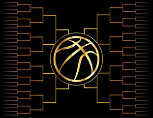 Fototapeta Koszykówka Golden Basketball Icon and Bracket