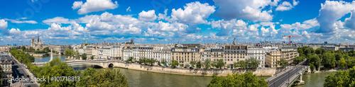 Poster Paris Seine and Notre Dame de Paris