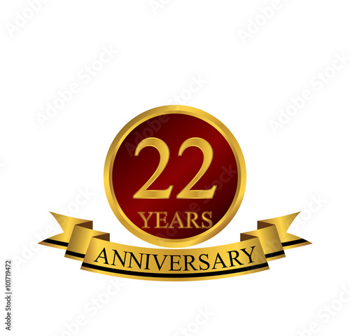 Платно  22 anniversary with red golden ring and ribbon
