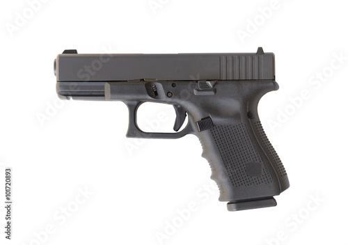 Glock automatic 9mm handgun pistol isolated on a white backgroun