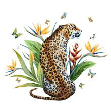 Watercolor Vector Leopard