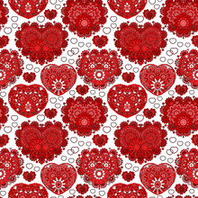Beautiful Ornate Seamless Background With Hearts. Endless Doodle Pattern. Ornamental Scribble Texture. Red White Figure On White Background. Love, Birthday, Valentine Day, Sale. Vector