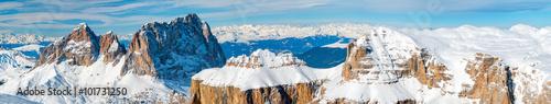 Fotografie, Tablou  pordoi italian dolomites panorama landscape