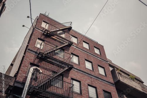 Fotografia Building fire escape in Osaka, Japan