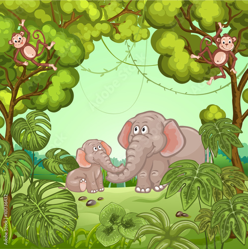Illustration of a jungle scene with elephants and monkey