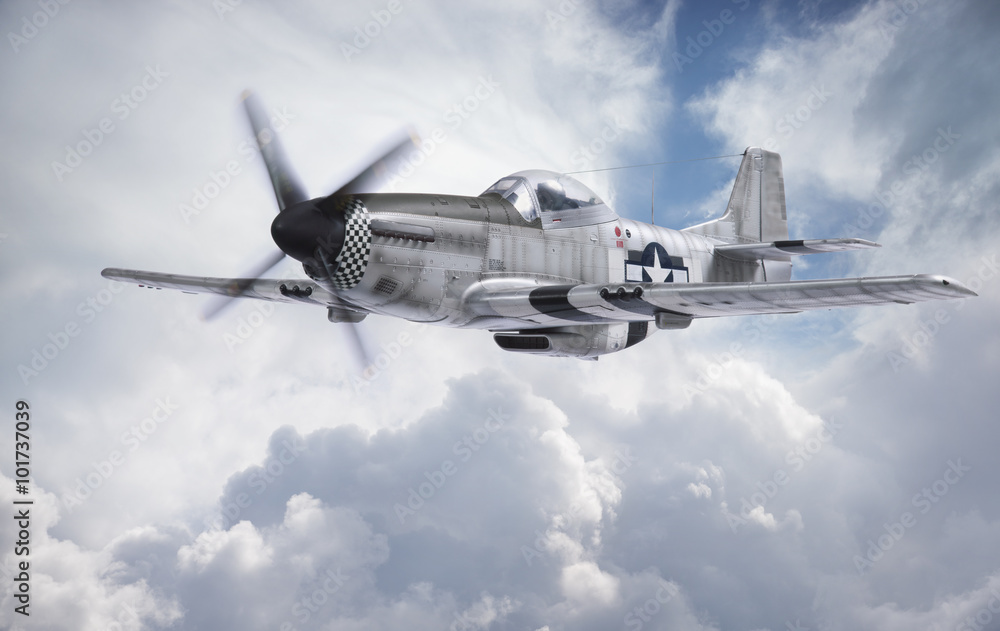 Fototapety, obrazy: World War II era fighter flies among clouds and blue sky