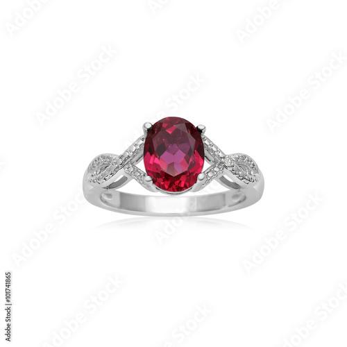Fotografía  Silver Ruby Gemstone Fashion Ring