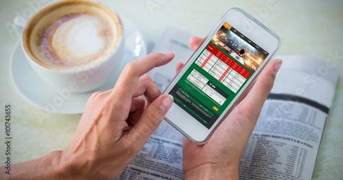 фотография  Composite image of gambling app screen
