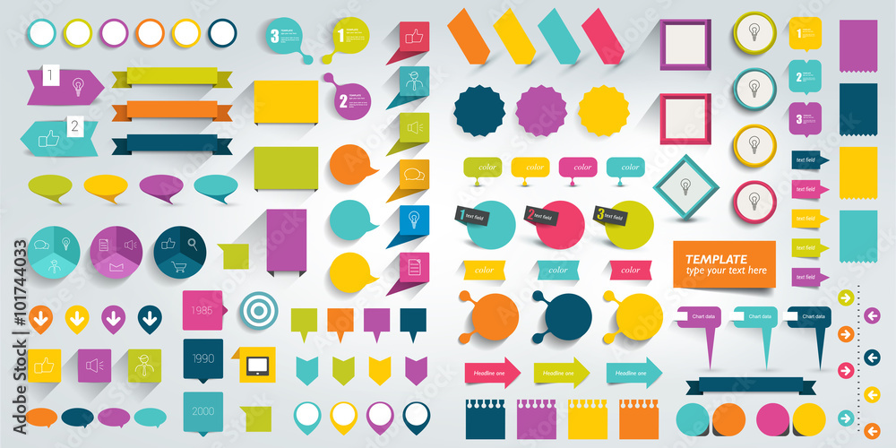 Fototapeta Collections of infographics flat design elements. Vector illustration.
