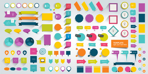 Collections of infographics flat design elements. Vector illustration.