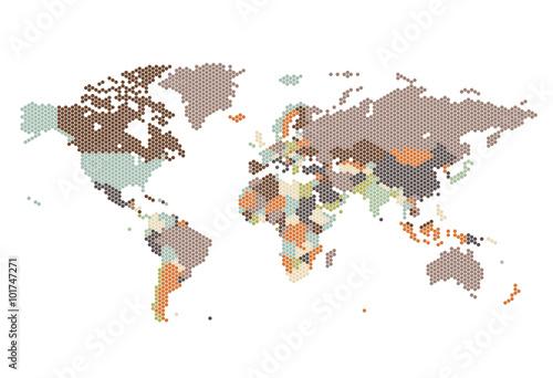 Türaufkleber Weltkarte Dotted World map of hexagonal dots