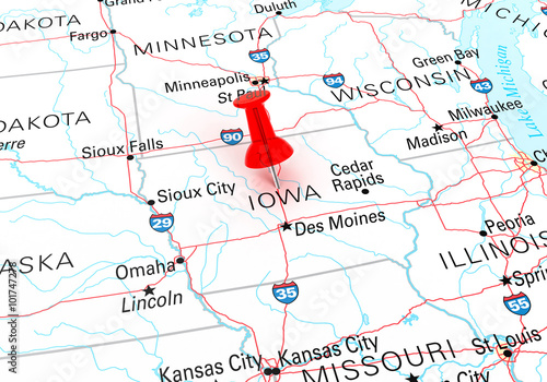 Red Thumbtack Over Iowa State USA Map - Buy this stock ...