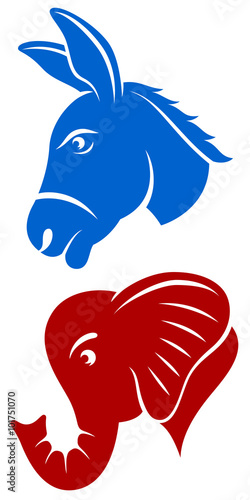Fotografía Vector illustration of a donkey and an elephant, representing the Democratic and Republican political parties of the United States