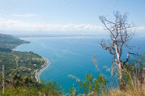 Fotografie, Obraz  Top view of the beach nicotera, Calabria, Italy