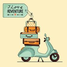 Vintage Scooter Poster Design