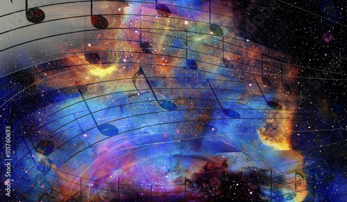 Cuadros en Lienzo music note and Space and stars with abstrtact color background.