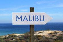 Malibu Sign With Seashore In The Background