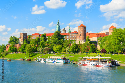 Fototapeta A view of Wawel castle located on bank of Vistula river in Krakow city, Poland obraz