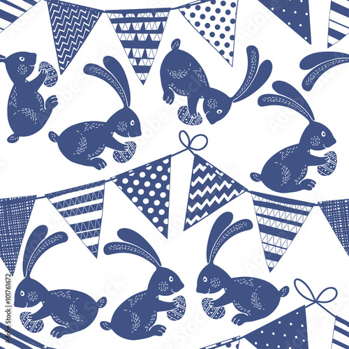 Cotton fabric Seamless pattern with buntings garlands and Easter bunnies.