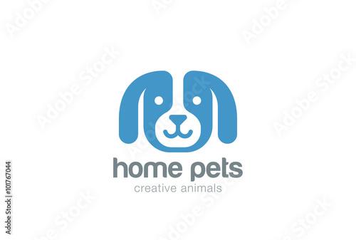 Dog Logo Design Vector Negative Space Puppy Head Icon Home Pet