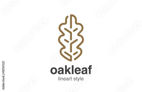 Láminas  Oak Leaf Logo design vector template linear style.