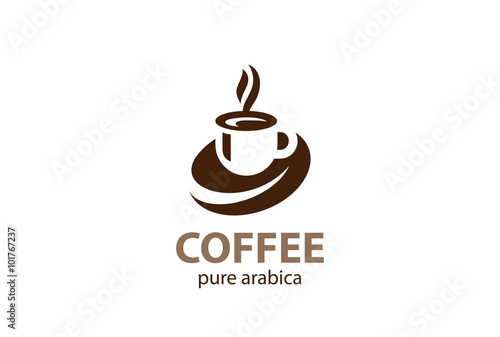 Coffee cup foam Logo design vector. Hot drinks mug icon