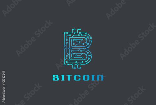 Digital Chip Bitcoin Logo Design Vector Fintech Blockchain Icon Stock Vector Adobe Stock