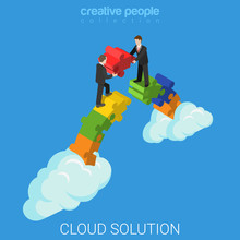 Cloud Solution Business Technology Flat 3d Vector Isometric
