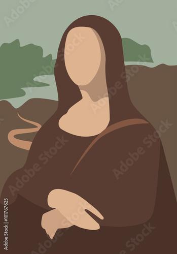 Mona Lisa by Leonadro da Vinci portrait vector flat Canvas Print