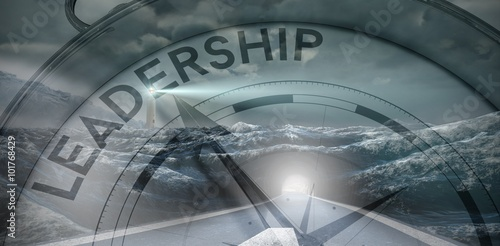 Fototapeta Composite image of compass pointing to leadership