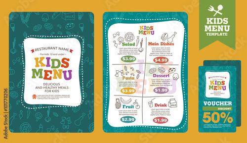 Photo  Cute colorful kids meal menu vector template