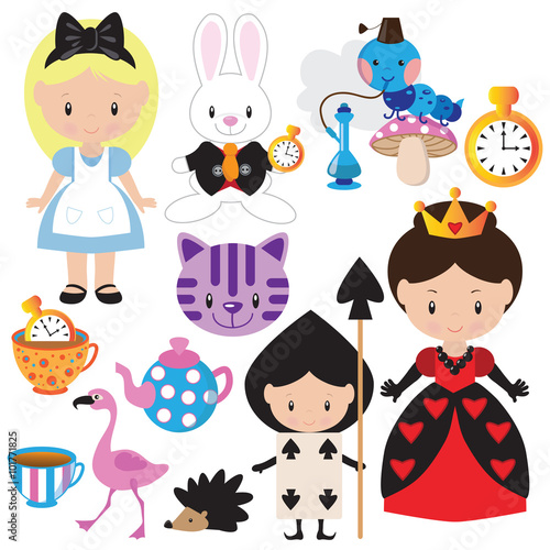 Fotografie, Obraz Alice in Wonderland vector illustration