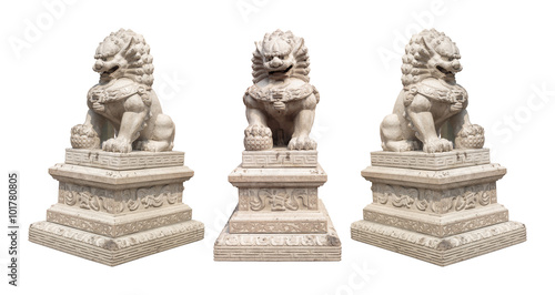 Fotografie, Tablou  Chinese Imperial Lion Statue, Isolated With Clipping Path