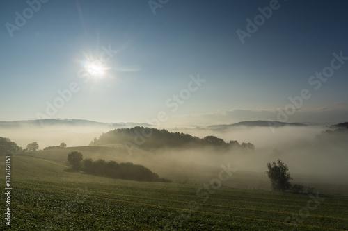 Poster Landschap Sonnenaufgang im Nebel auf dem Feld