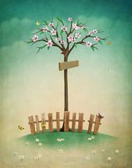 Greeting card or illustration of beautiful autumn lawn with  fence and  tree