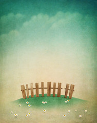 Greeting card or illustration of beautiful autumn lawn with  fence