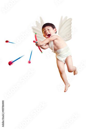 Obraz na płótnie asian boy cupid with a bow and arrows isolated white with