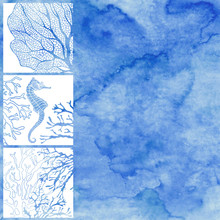 Vector Illustration On The Marine Theme With Space For Text  On Blue Watercolor Background.