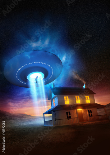Foto op Canvas UFO A man abducted near his isolated home by a UFO.