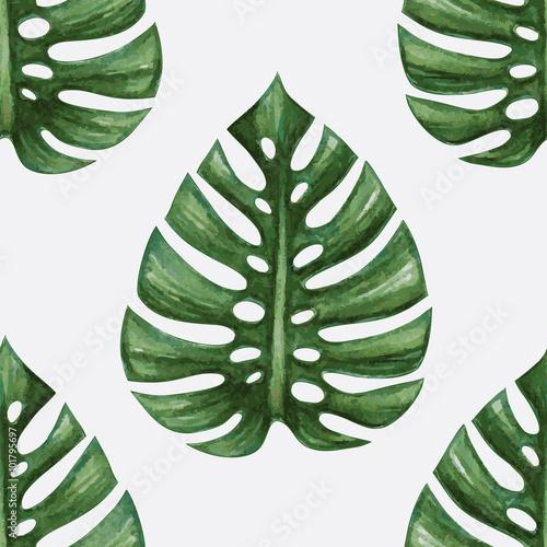 akwarela-tropikalny-lisci-palmowych-wzor