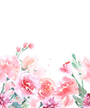 Floral Seamless Watercolor Bor...
