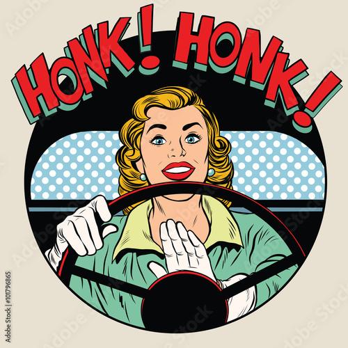kierowca róg pojazdu honk kobieta